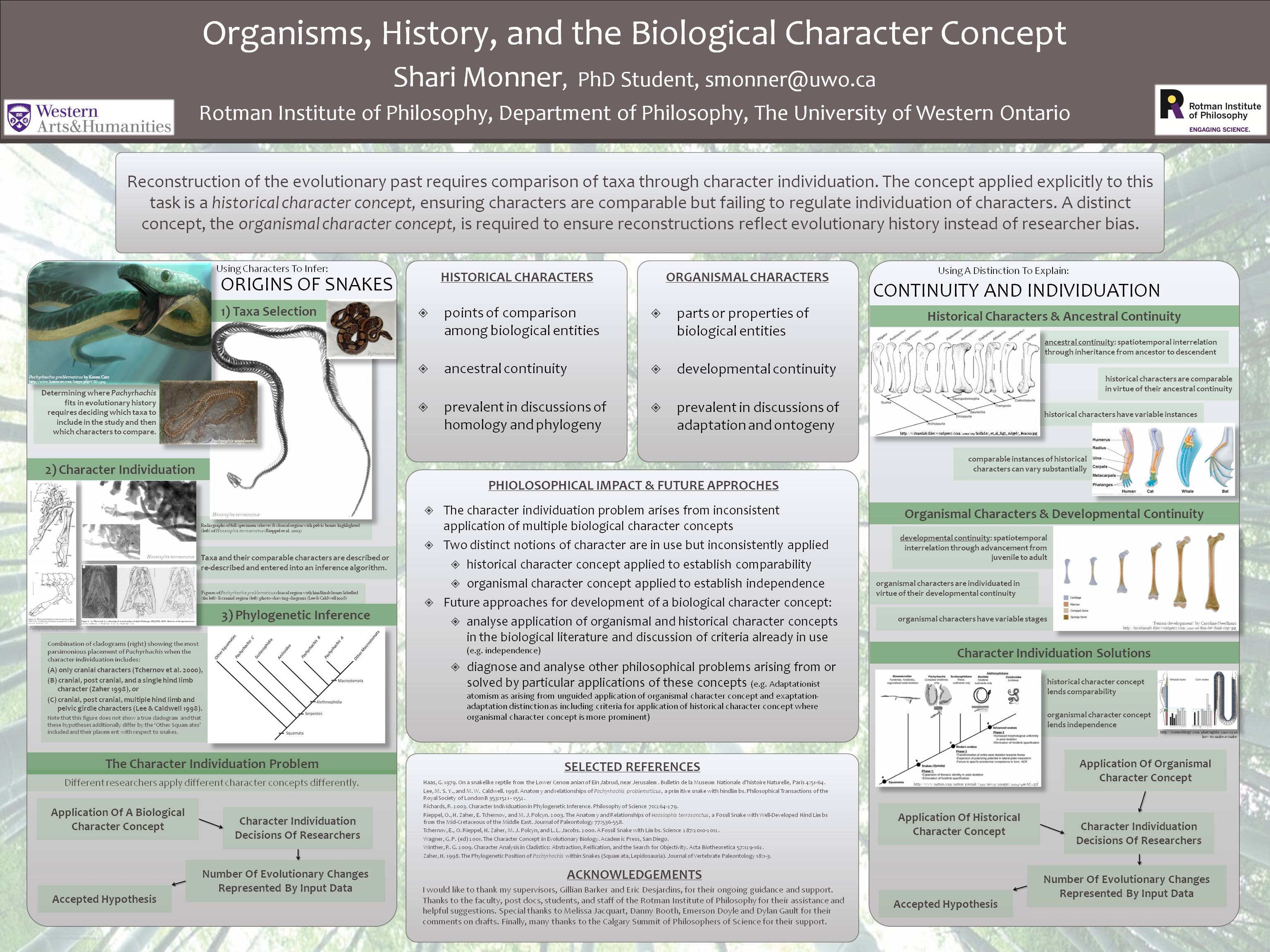 Research Poster about Organisms, History, and the Biological Character Concept by Shari Monner from the Rotman Institute of Philosophy at Western University.