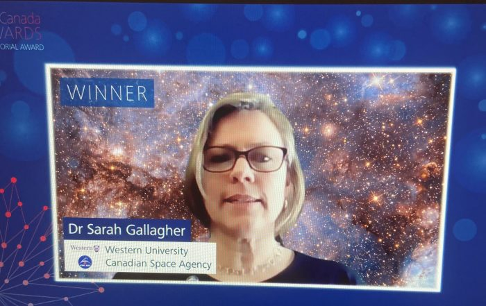 Sarah Gallagher receiving her award on Zoom