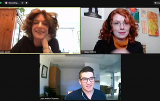 Karen Adolph, Robyn Wilford and Juan Ardila on Zoom