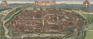 Panoramic view of Vienna after the city walls were reconstructed in 1548. In the middle is St Stephen's Cathedral (aka Stephansdom), behind the medieval Hofburg complex. Right next to it is the Minoritenkirche and to the far right Schottenstift with the Schottentor gate.  Source: Wikipedia