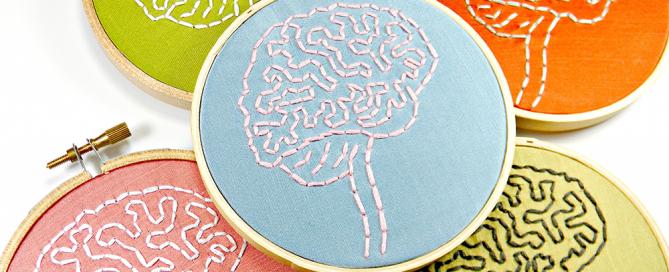 embroidered brain hoop art