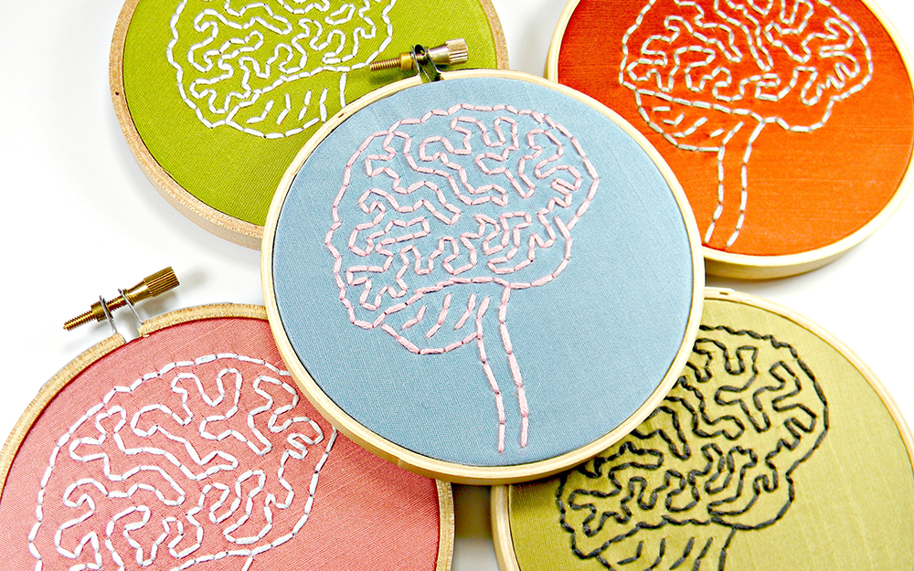 embroidered brain hoop art