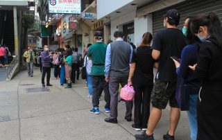 People in line for COVID-19 vaccination